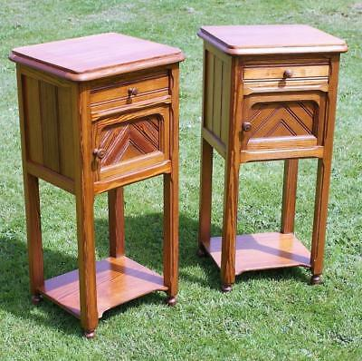 A Fine Pair Of Antique Solid Pitch Pine French  Bedside Cabinets