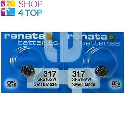 2 Renata 317 Sr516Sw Batteries Silver 1.55V Sr62 Watch Swiss Made Exp 2021 New