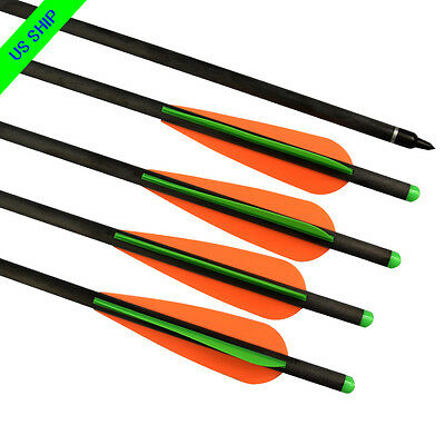 Crossbow Bolts Archery Hybrid Carbon Arrows Targets Hunting w/ Changeable Points