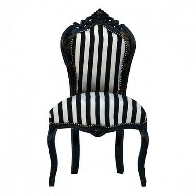 Striped chair black wood frame black and white French