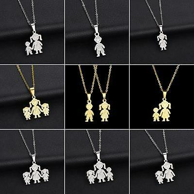 IK- New Stainless Steel Single Mother Kids Pendant Chain Necklace Jewelry Exquis