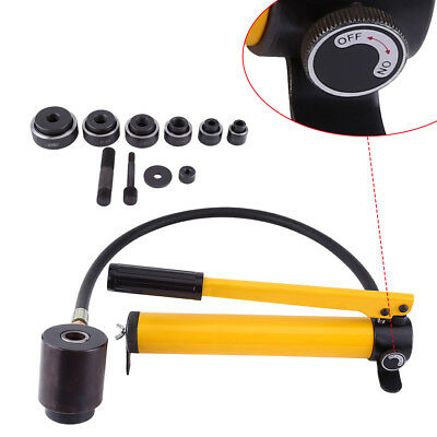 10 Ton 6 Dies Hydraulic Round Hole Punch Opener Kit Metalworking Hand Tool