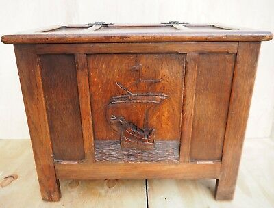 LOVELY VINTAGE 1930's PANELLED ORNATE GALLEON DESIGN OAK  BLANKET BOX/CHEST