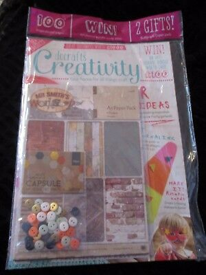 Docrafts creativity magazine June 2016  free A5 paper pack & 50 buttons