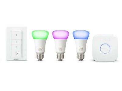 Philips Hue Richer Colours E27 ES White Colour Ambience Starter Kit with Dimmer