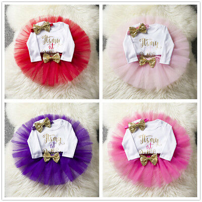 It's My Little Girl 1st First Birthday Dress Baby Kids Set Tutu Cake Outfits One