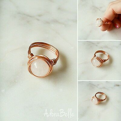 Rose Quartz & Rose Gold Wire Wrap Galaxy Ring Stackable Size 8 Luxe Boho Stylish