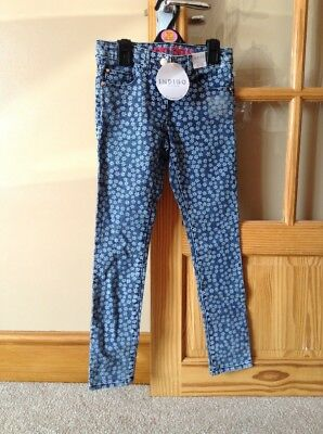 Girls Super Skinny Daisy / snowflake Print Denim Jeans M&S Age 10-11 Years