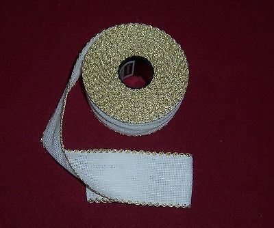 """14 Count Aida Band -2"""" wide White with a GOLD Edging - 50 cm long"""