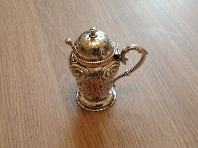 antique solid silver embossed mustard pot