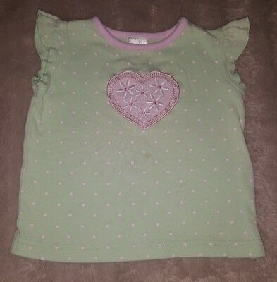 BABY GIRLS Sz 0 green & pink TARGET floral heart top CUTE! EMBROIDERY!