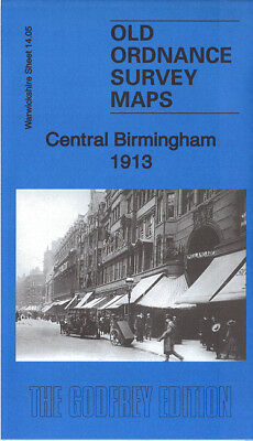 Old Ordnance Survey Map Central Birmingham 1913 New St Snow Hill Prospect Row