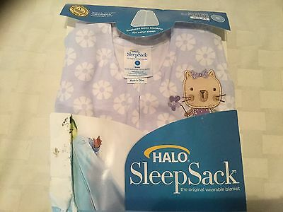 Halo SleepSack Wearable Blanket, Cotton, Lilac with Kitty, Small, G3