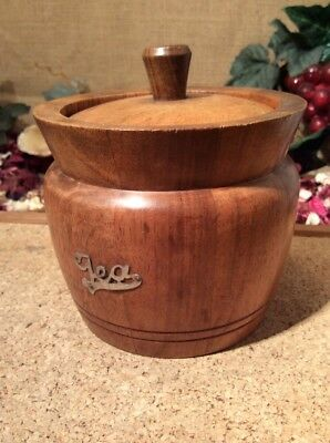 Vintage Wooden Tea Caddy With Ceramic Liner 12 X 12cms