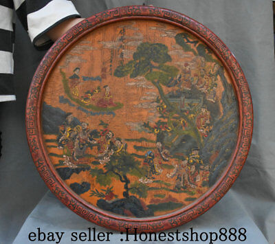 """22"""" Old China Wood Lacquerware Painting Dynasty Eight Immortals God Screen Hang"""