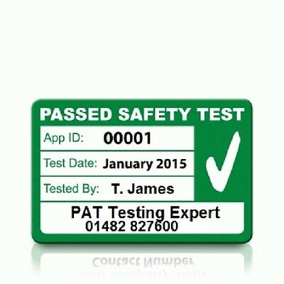 Personalised 'PASS' PAT Test Labels - MEDIUM (500)