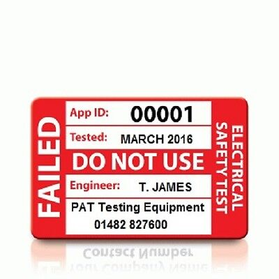 Personalised 'FAIL' PAT Test Labels - MEDIUM (500)