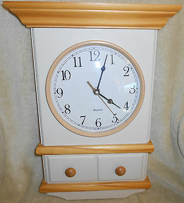 VINTAGE Wood Westclox Quartz Wall Clock Faux Wood Ivory with Light Trim