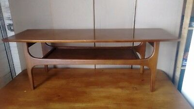 RETRO 1970's COFFEE TABLE WITH STRETCHER SHELF