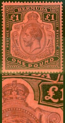 Bermuda 1918 £1 Purple & Black-Red SG55bvar Broken Crown & Scroll Repaired Rare