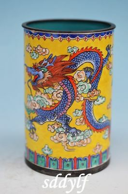 Cloisonne enamel Bronze dragon*phoenix Brush Pot Holder Pencil Vase zw