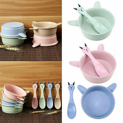 Baby Wheat Stalk Solid Food Cute Bowl Spoon Set Unbreak Anti Scald Tableware
