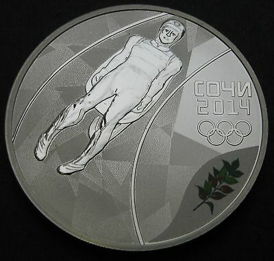 RUSSIA (Federation) 3 Roubles 2014 Proof - Silver - Sochi Luge - 383