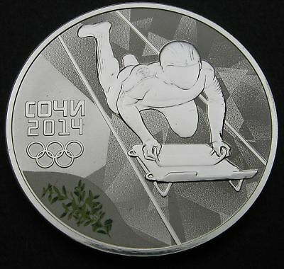 RUSSIA (Federation) 3 Roubles 2014 Proof - Silver - Sochi Skeleton - 388