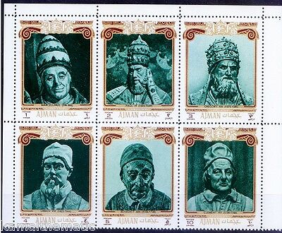 Ajman 1971 MNH 6v, Popes of 13th- 18th Century, Religion, Christmas -  Ra1
