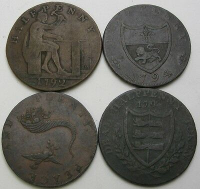GREAT BRITAIN 1/2 Penny 1792/1797 - Copper - Lot of 4 Tokens - 1215 *