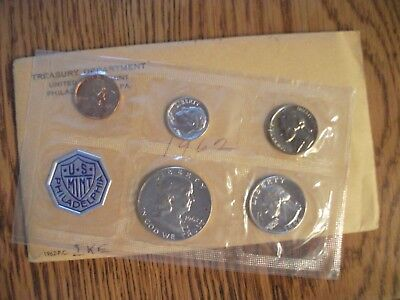 1962 - P US Silver Proof Set 5 Coins w Original Envelope FREE SHIPPING