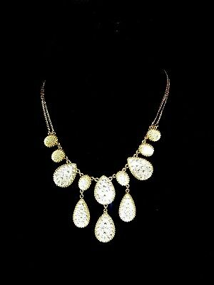 Vintage Gold Tone Clear Rhinestone Lariat Necklace 1980's