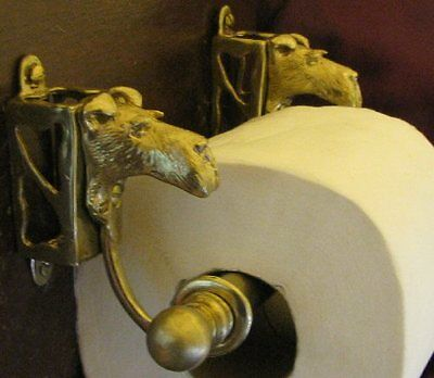 WIRE FOX TERRIER Bronze Toilet Paper Holder OR Paper Towel Holder!