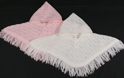 Baby girl poncho knitted cape wrap cardigan hooded white pink