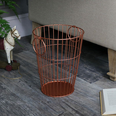 Copper wire metal waste paper storage bin with carry handles shabby vintage chic