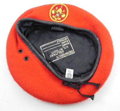 """Vintage BSA Boy Scouts Of America Red Wool Beret Style Scout Cap Hat Size 7 3/8"""""""