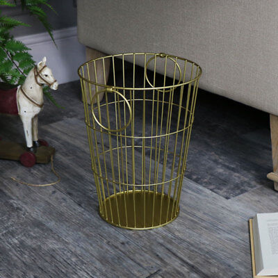 Gold wire metal waste paper storage bin with carry handles shabby vintage chic