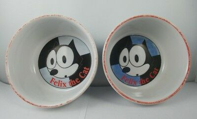 "2-Felix The Cat, preowned 4.5"" glass bowls. Licensed by Determined Productions."