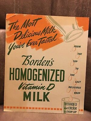 ORIGINAL 1930-40's BORDENS IN STORE SIGN DAIRY MILK