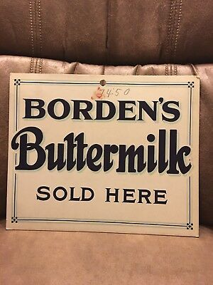 ORIGINAL 1930-40's Borden's In Store Sign Poster BORDENS BUTTERMILK SOLD HERE