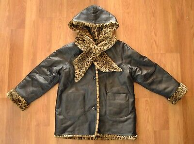 Wilson's Leather Hooded Reversible Leopard Print Coat Women's Small or Kids XL