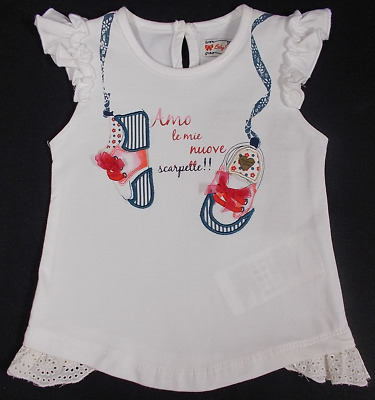 Mayoral baby girl t shirt top Spanish designer WHITE bow shoes