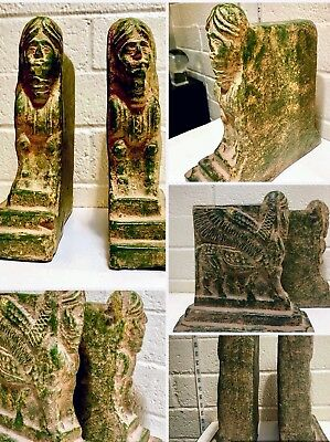 Large ANTIQUE stone Egyptian Rare Bookends winged horse man motif heavy AWESOME