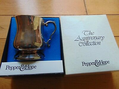 1977 Vintage Silver Plate TANKARD By PEPPER & HOPE, Anniversary Collection