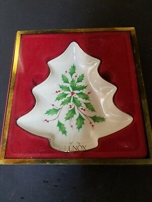 Lenox Christmas Tree Shape with Holly Candy Dish in Original Box