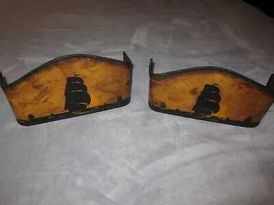 Pr. of Vintage Hand Painted Sailboat Themed Lamp or Sconce Shades.