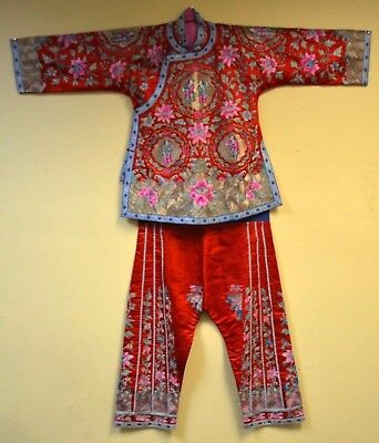 Antique Chinese Silk Embroidered Robe & Pants Set