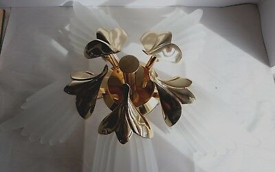 Vintage Fabbian of Italy Brass Frosted Glass Chandelier Mid Century Art Deco