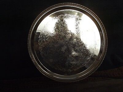LARGE ROUND VINTAGE SILVER PLATED ENGRAVED GALLERY TRAY  33 cm in diameter