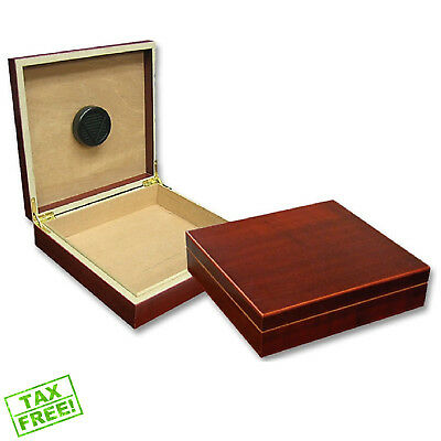 Small Cigar Humidor Box Humidifier Wood Case Cherry Spanish Cedar Lined Cabinet